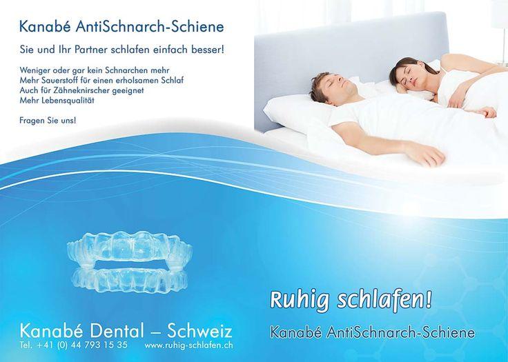 Flyer für eine AntiSchnarch-Schiene. Endlich ruhig schlafen. Gut gegen Schnarchen.
