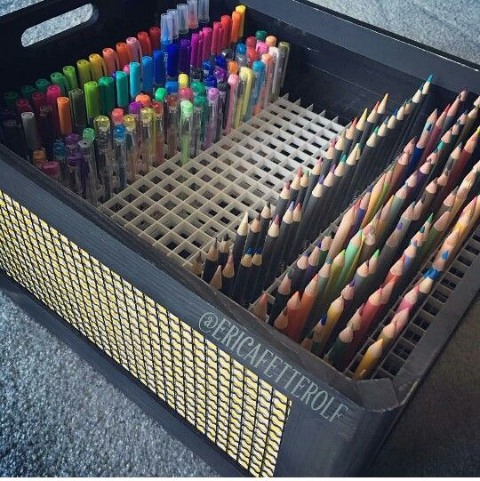 DIY storage box for pens, pencils, markers for colorists with way too many of them, but still need them all! #crafts_storage_pens
