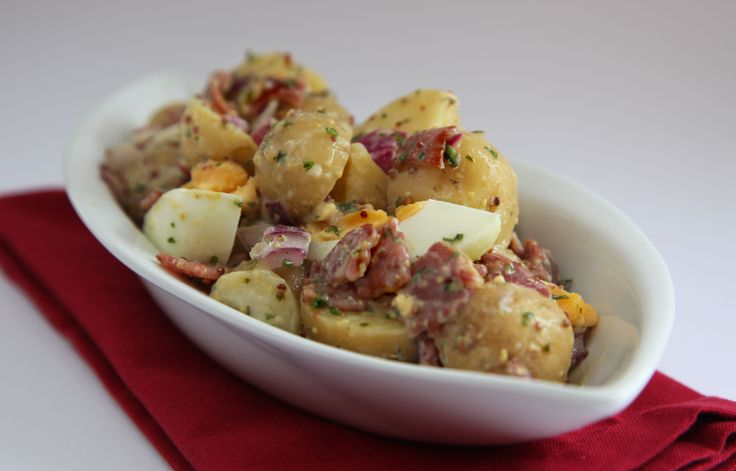 Bacon, Egg and Potato Salad by Annette Sym from Symply Too Good http://www.imnotfussy.com.au/BaconEggAndPotatoSalad.aspx