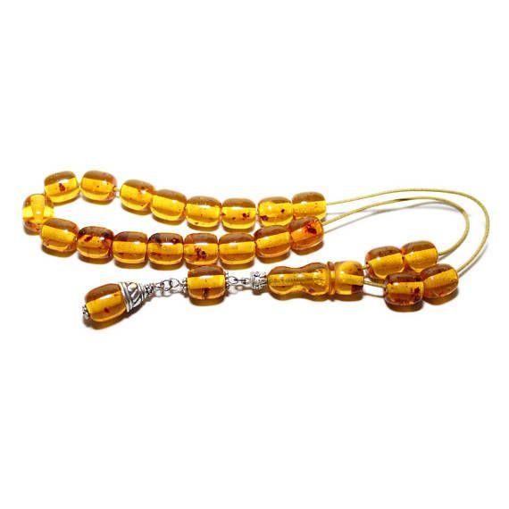 Worry Beads Komboloi Baltic Amber color Barrel shape beads
