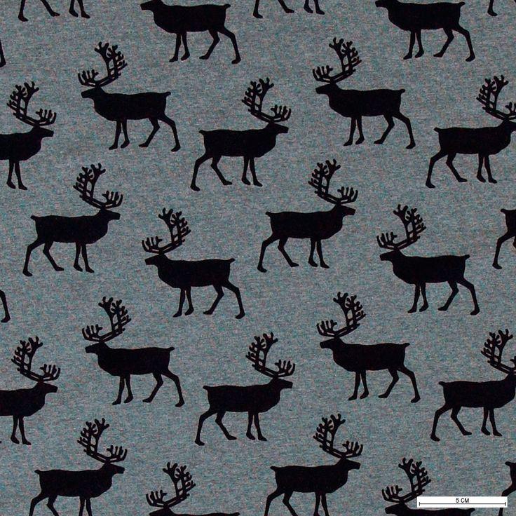 271303 Stretch jersey blå melange med hjorte