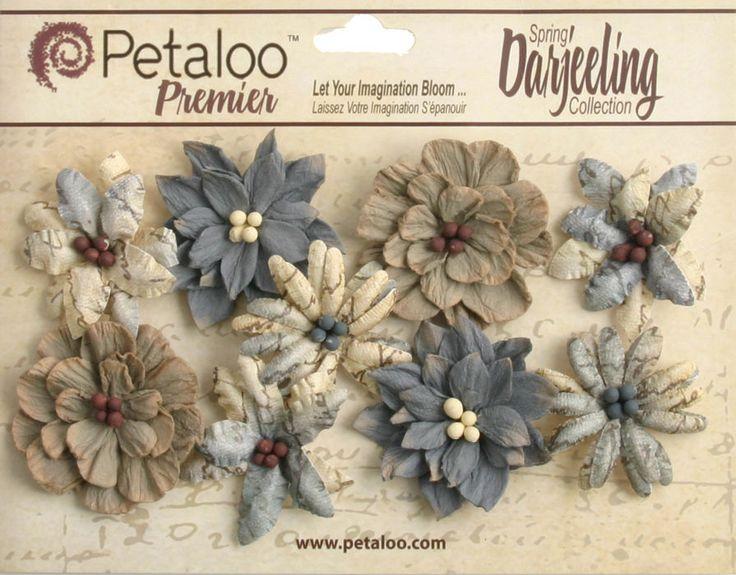 9 x Grey Wild Blossoms Flowers Petaloo Darjeeling shabby handmade 4cm NEW
