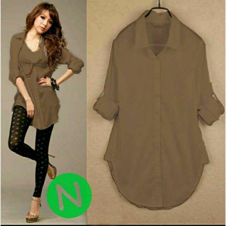 5342  _20 vivian (coklat) blouse (twiscone skin sofly) L besar,pj 73cm,LD 100cm,berat 0,22kg,coklat,kancing full hidup.  80.000 IDR (sf)