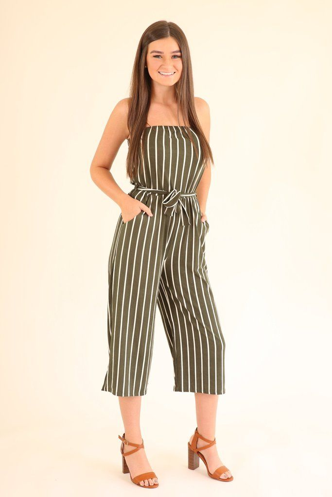 81a7bd90fa7 Olive striped jumpsuit