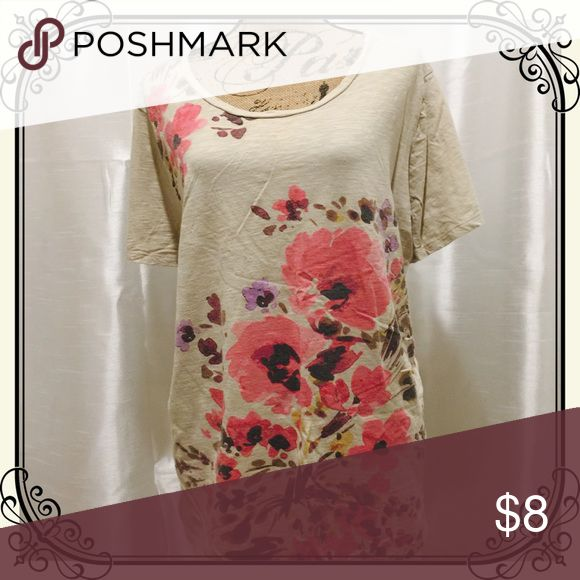 Lovely soft beige tee with pink floral design So soft! Lovely beige tee with pink floral design. Merona Tops Tees - Short Sleeve