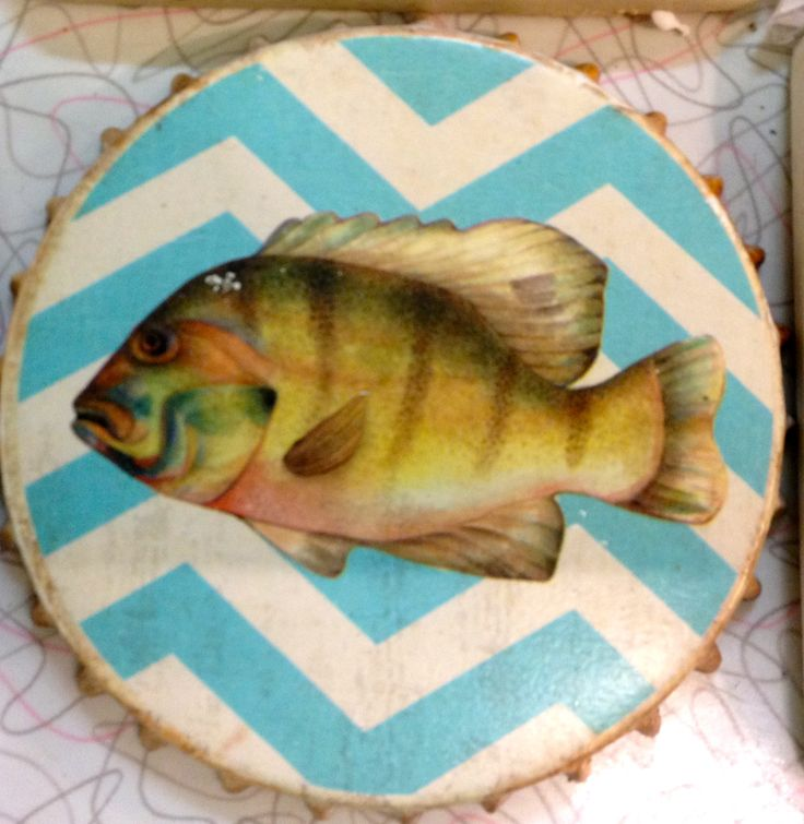 Fun fishy, rusty bottle cap look with blue chevrons - very groovy coaster!