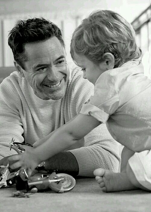 Robert Downey Jr and Exton!!! Look at that love written all over his face!