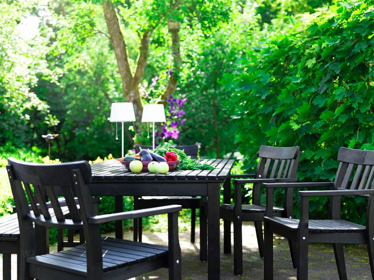 Marvelous Ideas Ikea Patio Furniture 2011 : Beautiful Furniture Design  Ideas : Beautiful Garden Outdoor Black Chairs Furniture Two White Des.