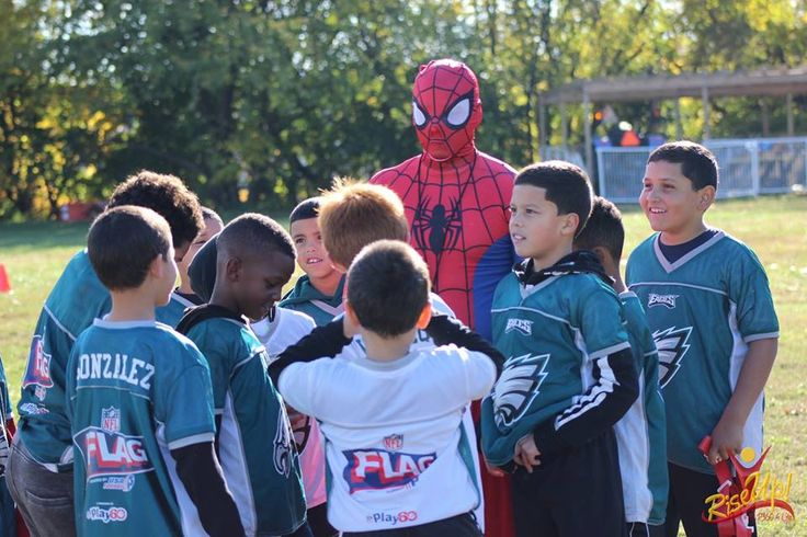 """Another great season of #MVP360 #Eagles #Flag #Football comes to a heart-stopping end! Thank you to """"#Spiderman"""" and """"#Venom"""" for making a special appearance at our #Halloween #Bowl! For more pictures and programs check us out at: www.facebook.com/... & www.mvp360.org/"""