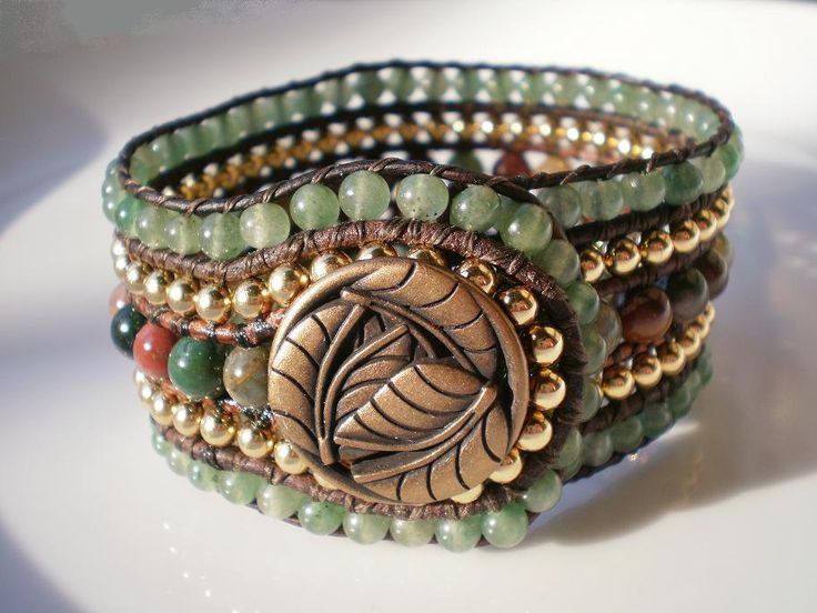 5 Row Beaded Cuff Leather Jasper Green Aventurine by RopesofPearls, $86.00