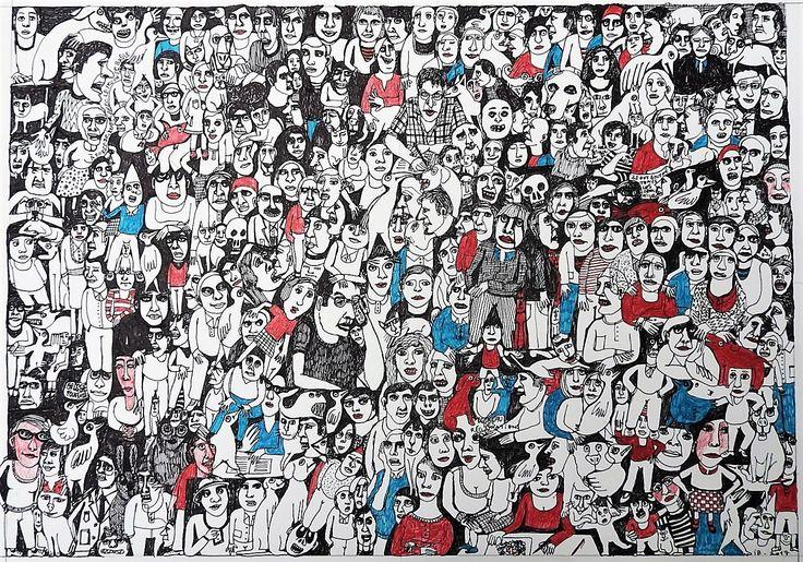 """Isabelle Biquet /de la série """"les foules"""" : feutre noir, feutre bleu et bic rouge, 29x41 cm, 2017"""