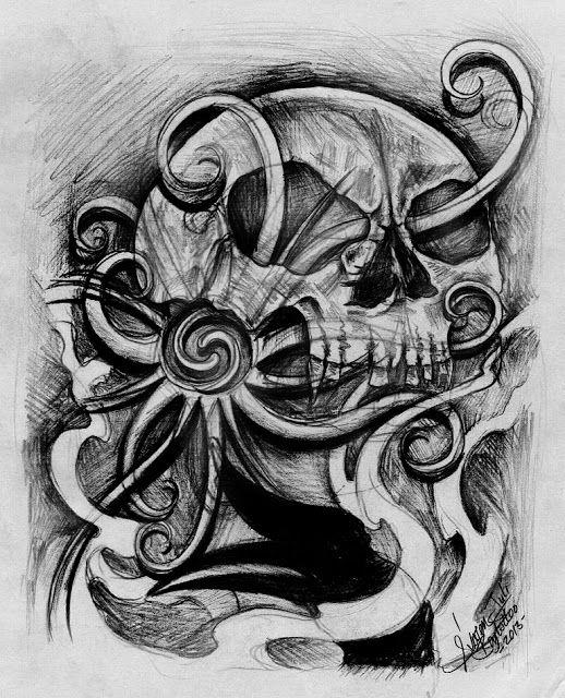 Skull & hornbill by Sylvester Juli @ sylvesterjuliarts.blogspot.com
