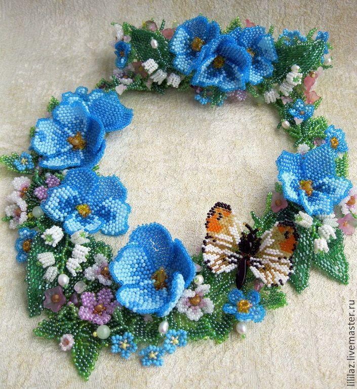 """Купить """" Лазурный взгляд Весны"""", колье, браслет. - голубой, лазурный, бирюзовый, синий, белый"""