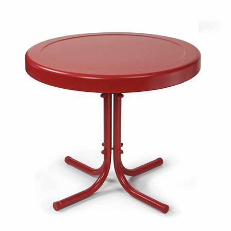 Patio Furniture Garden Table Outdoor Round Metal Red - Tables