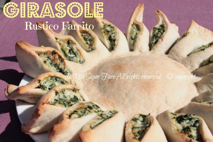 Girasole rustico farcito | Ricetta Sole ripieno: una torta rustica salata gustosa e molto scenografica. Sorprende per il sapore e incanta per il suo aspetto