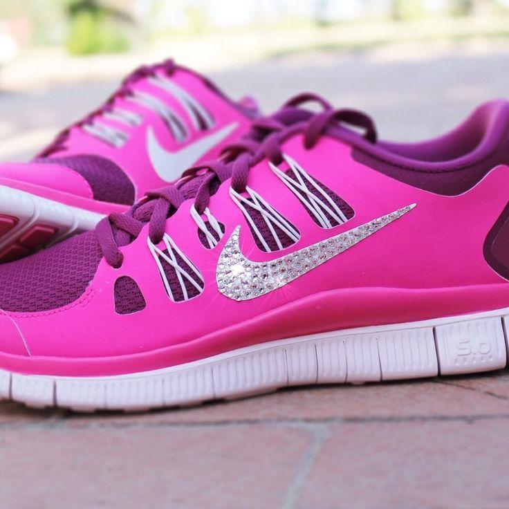 sports shoes ab6a3 6e81a ... shoes Women s Nike Free 5.0 w  Swarovski Rhinestones - Pink ...