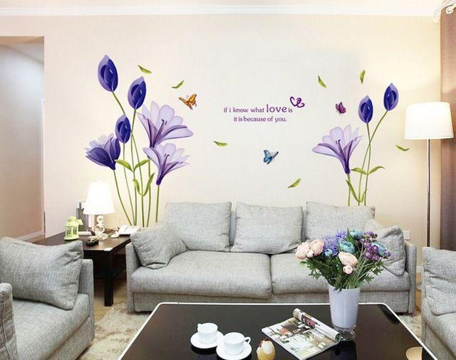 Новая Мода Фиолетовые Тюльпаны Цветы Стены Стикеры Для Гостиной DIY 3d Стикер Стены Домашнего Декора adesivo де parede