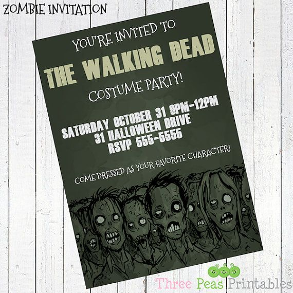zombie invitation halloween party walking dead - Zombie Halloween Party…