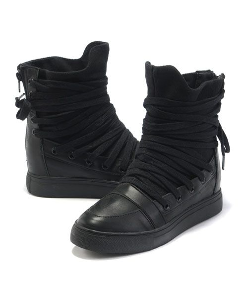 Black High Top Flatform Shoes with Wrapped Lace