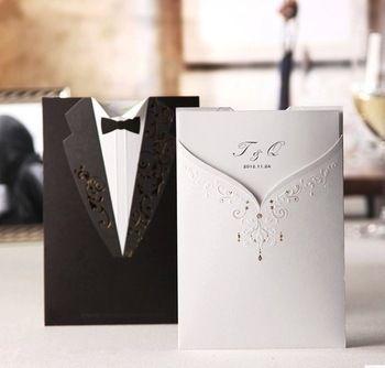 Бесплатно для печати 50 шт / лота Белый жениха и невесты свадьба пригласительный билет с Конверты и кольцо, оптовая
