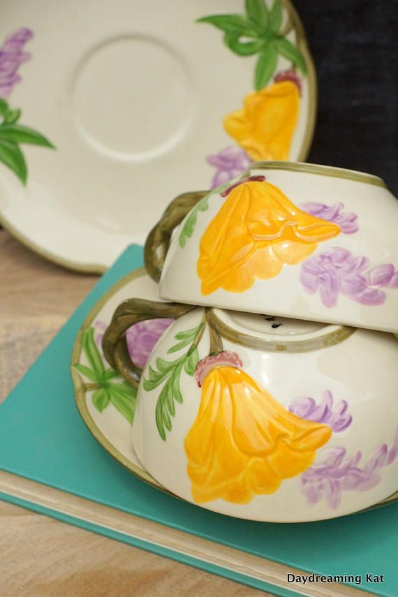 Poppy Franciscan ware Rare patten Cup and Saucer 2 California China Dinnerware Poppies and Wisteria Shabby Chic Decor Tea Cups Coffee Cups