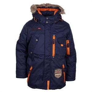 Smart vinterjakke i marineblå med orange detaljer fra D-XEL- model Bart Jacket.