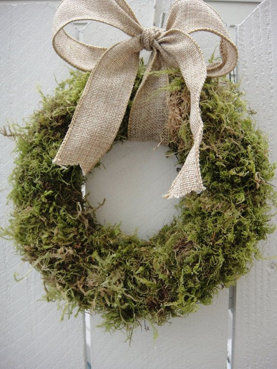 Moss Wreath With Burlap Bow Wedding Wreath Rustic Wreath Easter Wreath Spring and Summer
