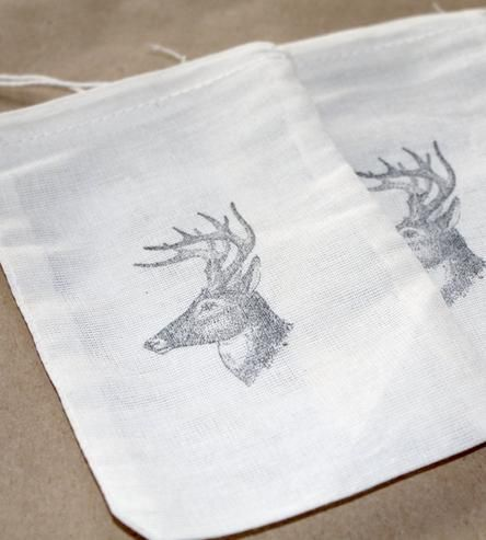 Hand-stamped Deer Head Favor Bags | These handsome muslin party favor bags – customized with a sta... | Wedding Ceremony Supplies