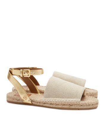 I NEED THESE Tory Burch Elastic Metallic Espadrille Sandal