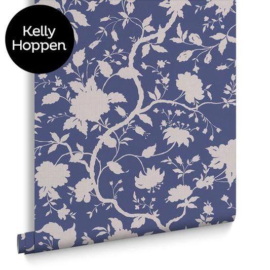 Botanic Prussian Blue Wallpaper