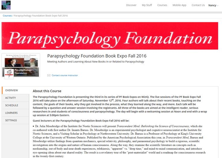 Here's the link: http://pflyceum.wiziq.com/course/171232-parapsychology-foundation-book-expo-fall-2016 for the free Book Expo Fall 2016 from the Parapsychology Foundation. Click the link for more information and the free enrollment button and join Lisette Coly, Dr. Carlos S. Alvarado, Dr. Nancy L. Zingrone, and especially the authors: Dr. Julia Mossbridge, Titus Rivas and Rudolf H. Smith, and Dr. Renaud Evrard! And as always if you can't join us on the day (from noon through about 5:30pm…
