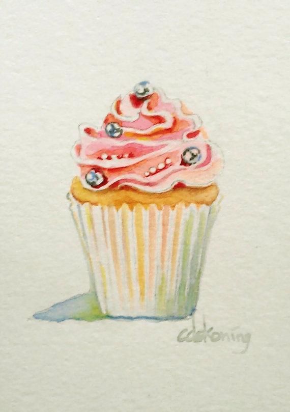 Pink Cupcake original ACEO watercolor painting by christydekoning, $25.00