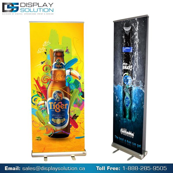 Display Solution Offers on various banner stands. Ours Double-sided banner stand is meaning you will have twice the impact and full limits of visibility to display the presentations you create. Whether you have need printed banners with your double-sided display stand or already have the vinyl banners you want to use and just need the stands themselves, these affordable double-sided banner stands are perfect for trade shows and events.
