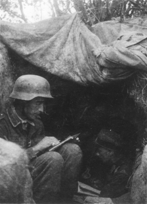 German soldiers in their dugout on the Eastern Front, 1942