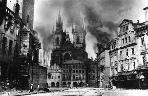 Prague, May 1945. i would love to show my class a before and after comparison. before the war, during the war, and present day.
