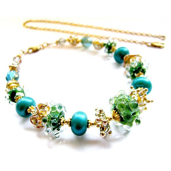 25% OFF SALE, Green Teal Lampwork Necklace, Rich Bold Womans Necklace,... ($94) ❤ liked on Polyvore featuring jewelry, necklaces, 24k jewelry, teal necklace, 14 karat necklace, 14k jewelry and gold filled necklace