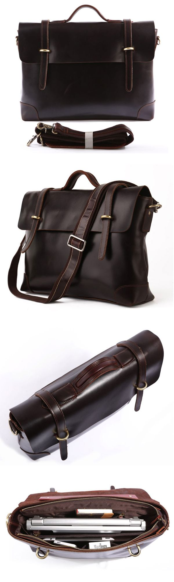 Best Gift Idea For Him Crazy Horse Leather Briefcase Laptop Messenger Bag Ipad Macbook Bag