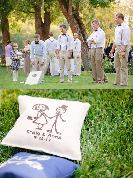 Custom corn hole beanbags. #weddinggames #cornhole #customwedding