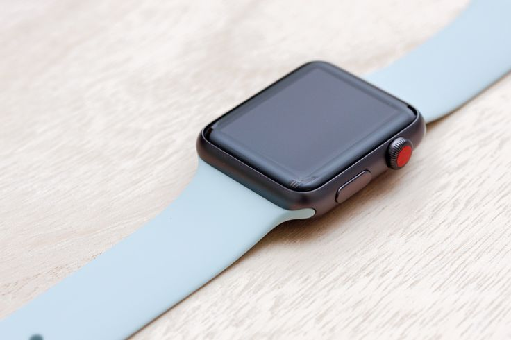 Apple Watch Sport Space Grey Case with Turquoise Sport Band.