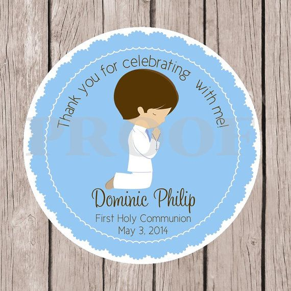 Set of 12 Boys First Holy munion Favor Tag by