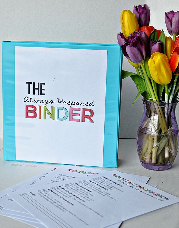 the Always Prepared Binder- printable sheets to be prepared for everything.  Can be added to Family Binder with the Budget Binder too.  | Th...: Ideas, Families Binder, Thirty Handmade, Free Printable, Printable Sheet, Preparation Binder, Life Organization, Budget Binder, Binder Printable