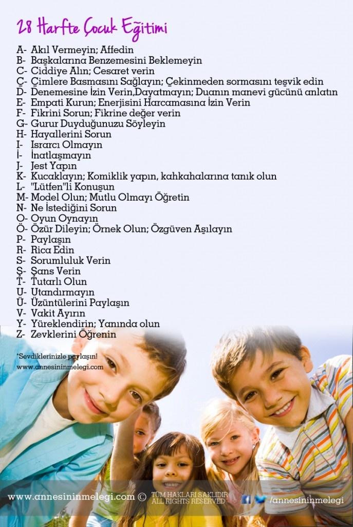 28 Harfte Çocuk Eğitimi    Çocuk eğitimini 28 harfe indirgeyerek tatlı bir tebessüm için basit önlemler alabiliriz. Yeter ki meleklerimizin kalpleri kırılmasın, mutlu olsunlar..  Beğendiyseniz, arkadaşlarınızla lütfen paylaşın,  Sevgiler  www.annesininmelegi.com