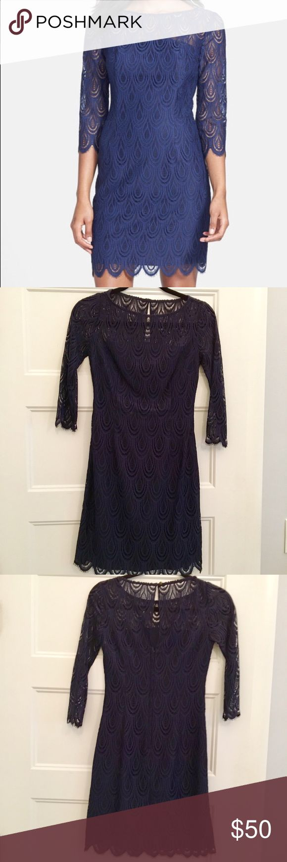 Lilly Pulitzer 3/4 Sleeve Navy Lace Dress Lilly Pulitzer Hera Lace Sheath! Beautiful navy dress that works equally well for dinner dates or cocktail parties. Very flattering cut and fabric and way more fun than another black dress! Lilly Pulitzer Dresses