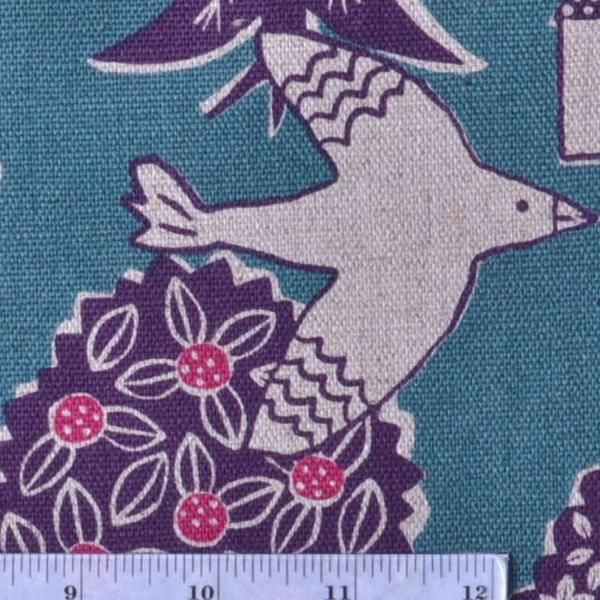 Birds, Trees and Little Houses Fabric