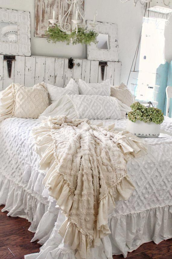 Chenille Pillow   Ruffled Pillow   Chenille   Farmhouse Linens   Pillow Cover   Linen Bedding   Shabby Chic Bedding – DIY Shabby Chic by Jenny