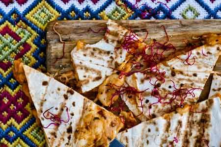 Roasted tomato salsa and cheese quesadillas
