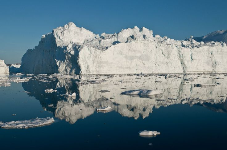 An iceberg in the Ilulissat Fjord which likely calved from the Jakobshavn Isbrae, Greenland's fastest-moving glacier. Legend has it that this glacier produced the iceberg that sunk the Titanic.