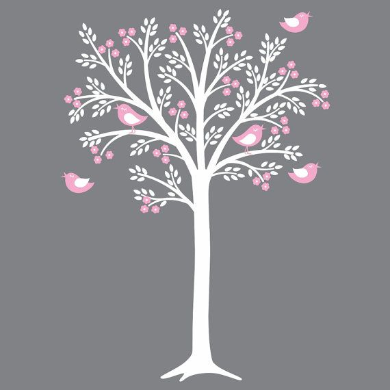 Pink and grey are very hot nursery colors right now making this white and pink tree decal look awesome on your grey nursery wall. This is a large tree. Dimensions are shown on the second picture.  CHECK OUT THIS SAME TREE WITH FLOWERS AND RHINESTONES:  http://www.etsy.com/listing/71623214/children-wall-decals-tree-decal-nursery  Tree is made from rolled material. The pieces are assembled on your wall.  Nursery Tree Decal can be customized. Please see our color and pattern chart (fourth…