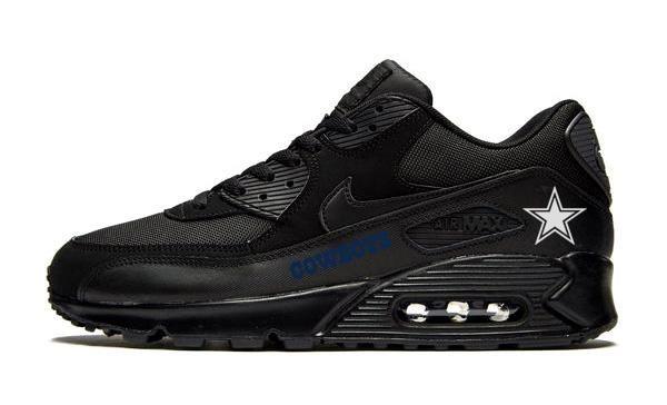 Dallas Cowboys Navy Custom Nike Air Max 90 Shoes Black - Bandana ...