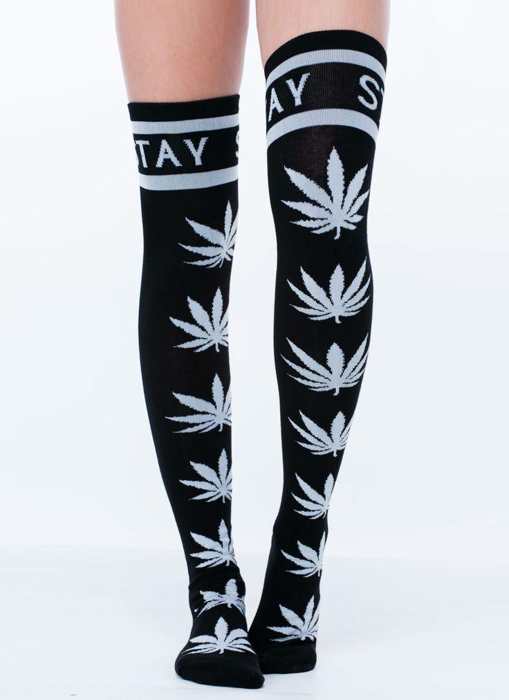Stay High Thigh-High Leaf Print Socks